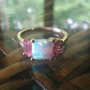 Opal Sapphire Gold Ring 7